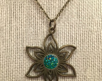 "16"" Bronze Flower Necklace with Green Faux Druzy Pendant"