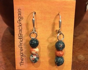 Teal,Orange&DarkBlue Marbled Bead Earrings