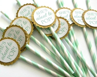 12 She's About to POP Party Straws, Baby Shower, Baby Theme, Mint Stripe Straws, Gender Reveal, Pop Theme, Mint and Gold