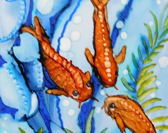 Rainbow koi fish etsy for Rainbow koi fish