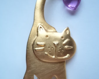 Vintage Signed JJ Gold pewter Cat with Heart on Tail Brooch/Pin