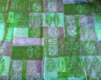 Leaf print purple and green barkcloth fabric material vintage retro destash