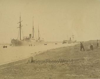 Ships California antique albumen photo by Arnoux