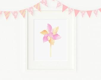 Watercolor painting pinwheel, kids room, nursery decor, kids prints