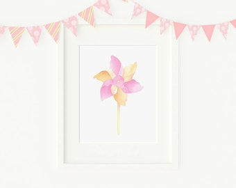 ORIGINAL watercolor painting pinwheel, kids room, nursery decor, NOT A PRINT!
