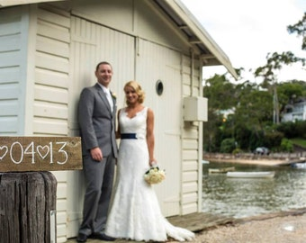 Wedding Vintage Timber Wooden Date Sign Made in Australia