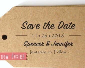CUSTOM ADDRESS STAMP, Save The Date Stamp, Save the Date Card, personalized pre inked stamp, thank you stamp, address stamp with proof RC6-4