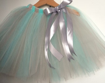Tutu skirt mint and silver grey tulle skirt for girls