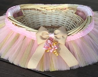 Pink And Gold Tutu Basket, Tutu Gift Basket, Tutu Baby Shower Basket,  Wedding