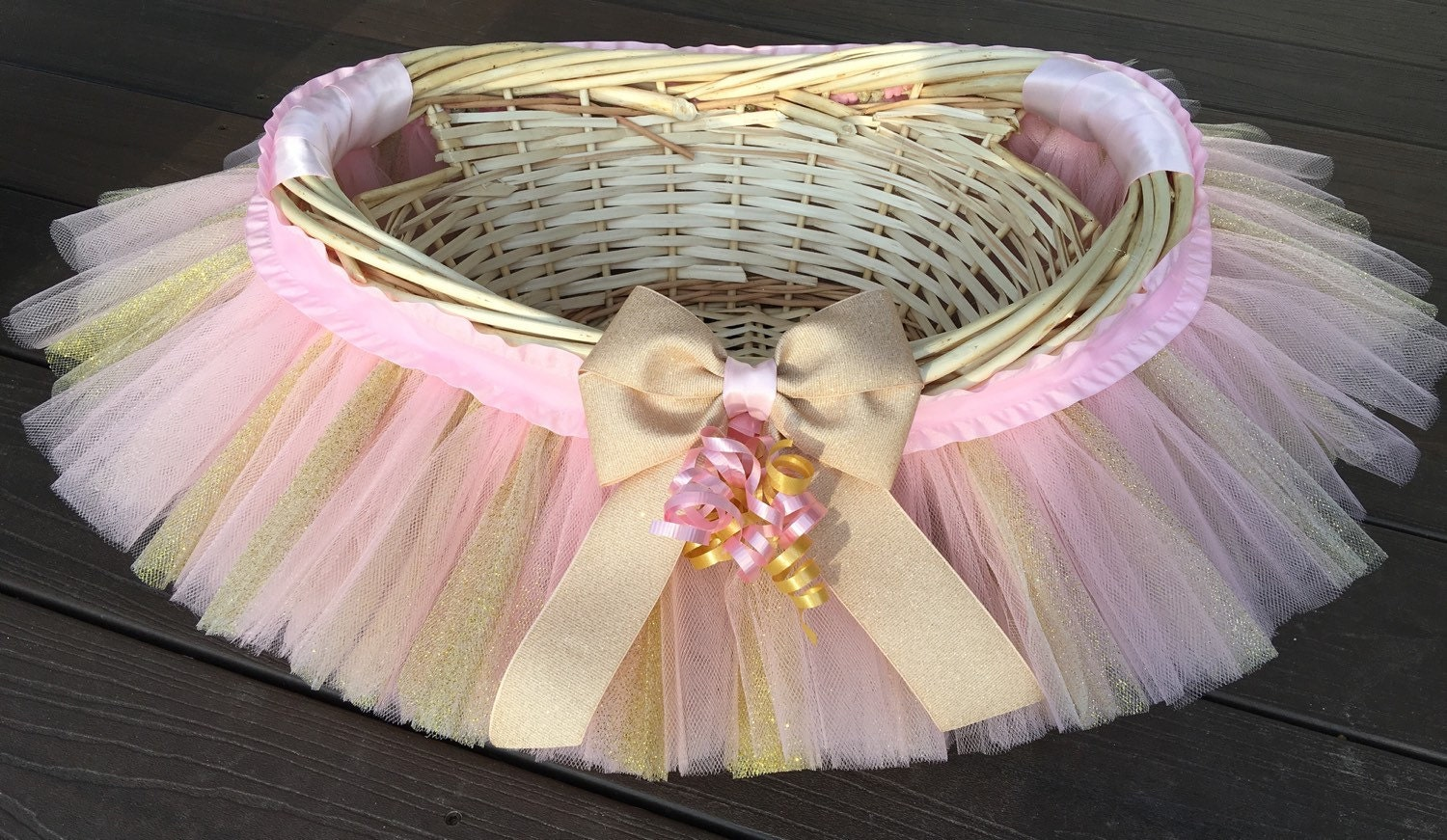 Baby Gift Gold : Pink and gold tutu basket gift baby shower