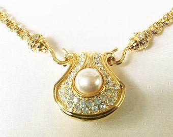 Nolan Miller Necklace - Reversible Faux Pearl and Crystal Pendant - S1972