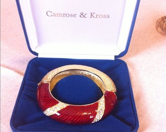 Jackie Kennedy Bangle Bracelet - Red Bangle with Swarovski Crystals, Box and Certificate - Size 7