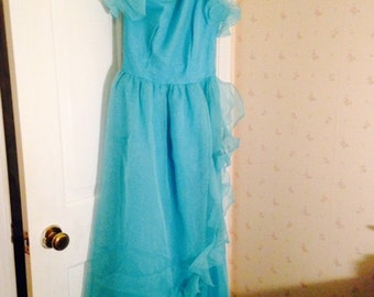 Lillie Rubin Vintage Turquoise Evening Gown