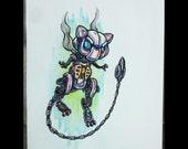 Steampunk Mew ORIGINAL Watercolor