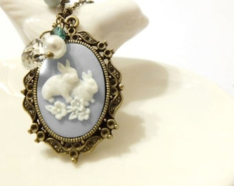 Bunny Necklace, Rabbit Necklace, Blue Necklace, Cameo Necklace , Cabochon Necklace, White Rabbit Charm, Bunny Charm Necklace, Bunny Jewelry