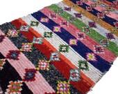 "114""X53"" Vintage Moroccan rug woven using different scraps of used textiles / boucherouite / boucherouette"