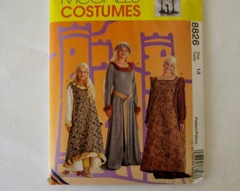 McCalls 8826 Sewing Pattern Girl's Medieval Dress Costume Gown Overdress Belt Head Piece Halloween Cosplay Child Size 14 UNCUT