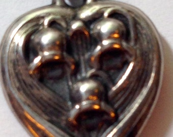 """1940's, Sterling Silver """"Puffy Heart"""" Charms"""