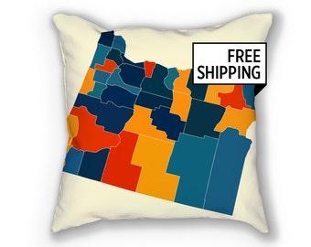 Oregon Map Pillow - OR Map Pillow 18x18