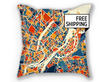Copenhagen Map Pillow - Kobenhavn Map Pillow 18x18