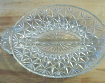 1940s vintage glass pickle dish