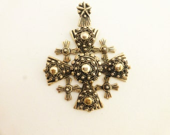 Vintage Crusaders Cross Jerusalem Sterling Silver Pendant Necklace