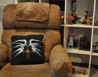 Recycled T-shirt Pillow - 16x16 gamer pillow with removable cover