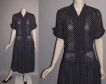 Vintage 1940's Polka Dots 40's Navy Blue Semi Sheer Rayon Day Dress Womens Dress - M