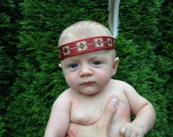 Headband To Match Indian Onesie Vest with Feather to the Side