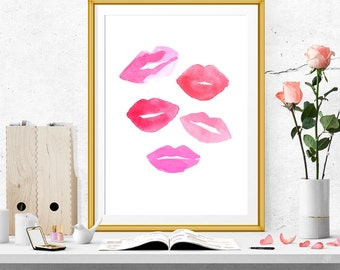 Lips print. Watercolor lips print. Kiss print. Pink kisses. Pink lips