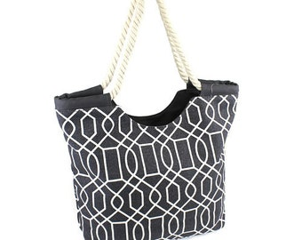 Gray Vine Tote Bag Rope Handle