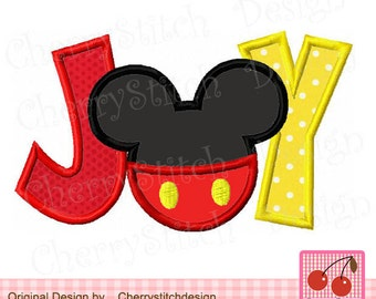 Christmas JOY Mickey Embroiderry applique CH0011 -for 4x4 5x7 6x10 hoop