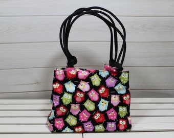 Small Tote Bag, Lunch Bag, Lunch Bag for Women, Owl Diaper Bag, Black Owl Expandable Tote