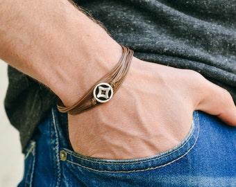 Wrap bracelet for men, men's bracelet with silver circle charm, brown cord, gift for him, friendship bracelet. men's jewelry, rhombus, karma