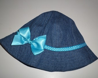 Denim Blue Baby Bucket Hat - Sweet Little Baby Hat - Hats For Baby Girls- Blue Denim Baby Hat With Blue And White Polka Dots And A Blue Bow