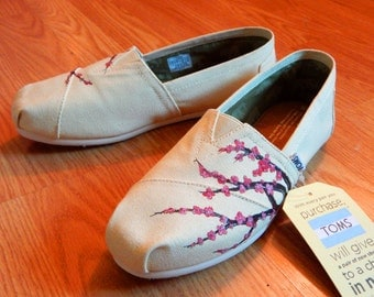 Custom Hand Painted TOMS - Cherry Blossom On Tan TOMS Shoes