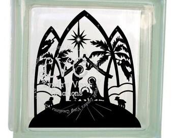 DIY Nativity Glass Block Decal