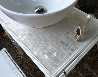 Bathroom Vanity, White, Shabby Chic,  Farmhouse, Cottage,  Vintage, Antique, upcycled, Mosaic, Mother of Pearl, vessel, faucet