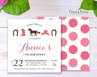 Cowgirl Child's Birthday Invitation - Baby, Toddler, Kid's Cow Girl Birthday Party Invite - Western Party - Digital File