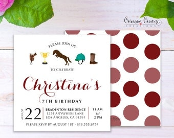 Equestrian Child's Birthday Invitation - Baby, Toddler, Kid's Horse Back Riding Birthday Party Invite - Horse Party - Digital File