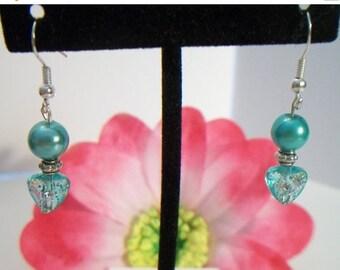 SHOP4FUN teal pearl heart earrings wire drop earrings