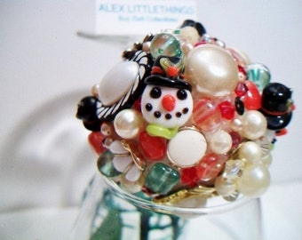 Christmas Snowman Ball Upcycled Repurposed Vintage Jewelry Orb
