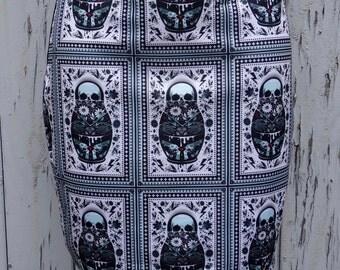 Russian Doll Skull Mini Skirt - Size 12 14 - Bodycon Horror Gun Candy Sugar Alternative Vintage