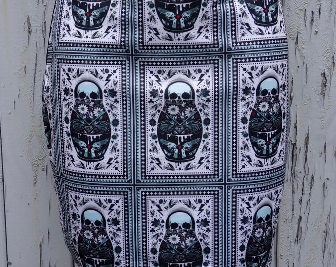 Russian Doll Skull Mini Skirt - Size 12 14 - Bodycon Horror Gun Candy Sugar Alternative Vintage