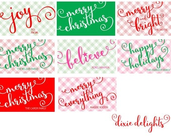 Christmas Monogrammed Personalized Gift Tags / Cards / Stickers