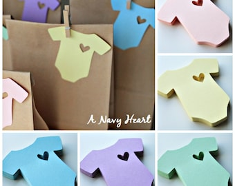 Onesie Gift Tags ~ Baby Shower ~ Pastel ~ Heart ~ Favor Tags ~ Set of 25