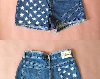 90s denim shorts | high waist fringed shorts