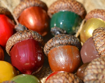 20 Large Handpainted Acorn Ornaments - with Jute Thread