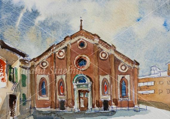 Milan Santa Maria delle Grazie church architectural landscape digital download from original watercolor Italy urban postcard street clipart