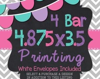 "4 Bar Printed Cards 4.875"" x 3.5"""